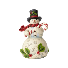 Heartwood Creek Snowman holding candy by Jim Shore Figurine 6001477