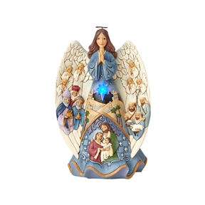 Heartwood Creek Musical Lighted Nativity Angel Figurine by Jim Shore, 6001481