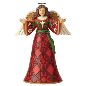 Heartwood Creek Burgundy and Gold Angel Figurine by Jim Shore, 6002733