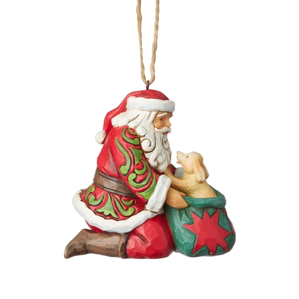 Heartwood Creek Santa with Dog in Bag Hanging Ornament by Jim Shore | 6003358
