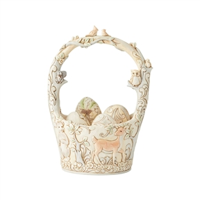 Heartwood Creek White Woodland Easter Basket Set Figurine by Jim Shore | 6003998