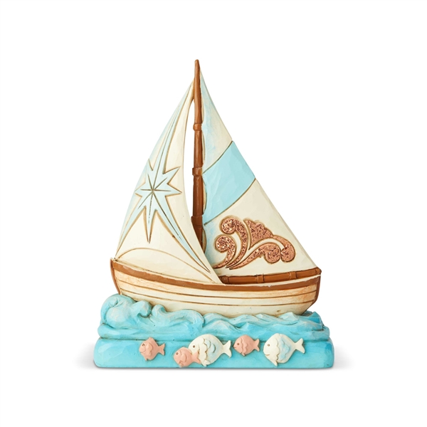 Heartwood Creek Coastal Scene Sailboat Figurine 6004025