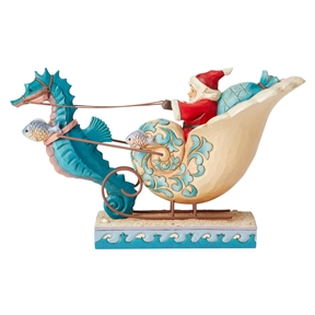 Heartwood Creek Coastal Santa in Sea Shell Sleigh Figurine 6004028