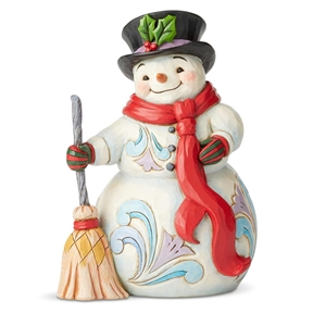 Heartwood Creek Snowman with Broom and Scarf Figurine by Jim Shore, 6004142