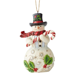 Heartwood Creek Snowman with Candy Cane Ornament by Jim Shore, 6004312
