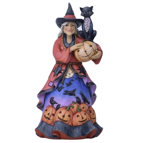 Heartwood Creek Friendly Witch with Black Cat Figurine, 6004325