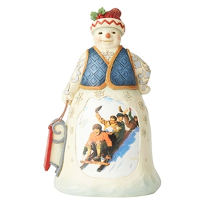 Heartwood Creek Snowman with Sledding Scene Figurine, 6004487