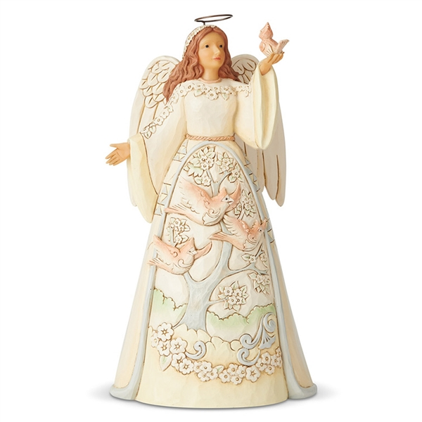 Heartwood Creek White Woodland Angel with Cardinal Figurine by Jim Shore, 6004767