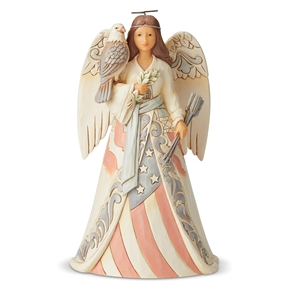 Heartwood Creek White Woodland Patriotic Angel Figurine by Jim Shore, 6005256