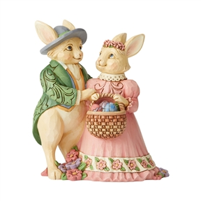 Heartwood Creek Mini Easter Bunny Couple with Basket Figurine by Jim Shore | 6006232