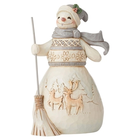 Heartwood Creek White Woodland Snowman with Broom Figurine by Jim Shore | 6006583