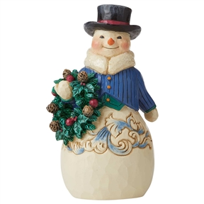 Heartwood Creek Victorian Snowman with Wreath, 6006599