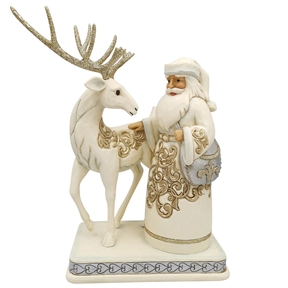 Heartwood Creek Holiday Lustre Santa with Reindeer, 6006615