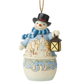 Heartwood Creek Snowman with Village Scene Ornament, 6006678