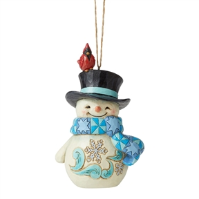 Heartwood Creek Snowman with Cardinal on Hat Ornament, 6006680