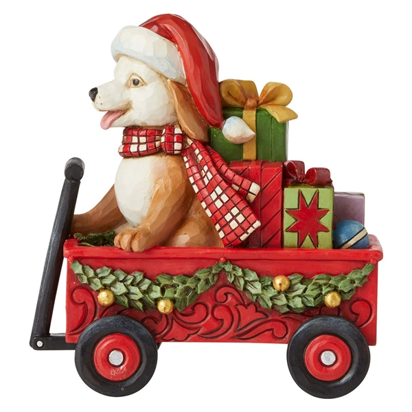 Heartwood Creek Christmas Dog in Wagon Figurine by Jim Shore, 6007444