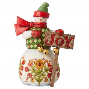 Heartwood Creek Snowman with Joy Sign Figurine, 6007447