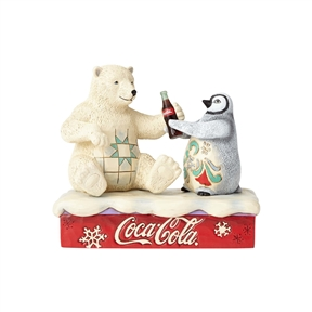 Coca Cola Polar Bear with Penguin Figurine by Jim Shore 4059474
