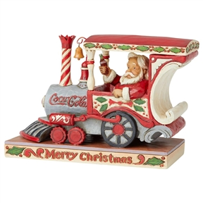 Santa Claus in Coca-Cola Train Engine Figurine by Jim Shore