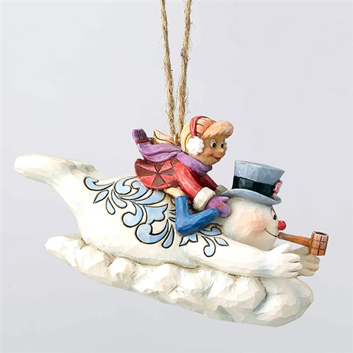 Frosty and Karen Sledding Ornament by Jim Shore