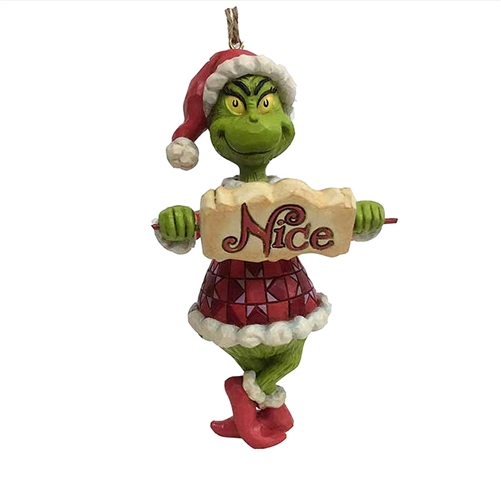 Grinch with Naughty Nice Sign Ornament by Jim Shore