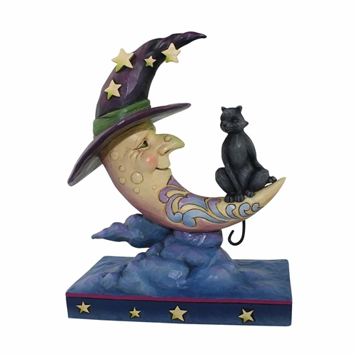 Heartwood Creek Crescent Moon Witch and Black Cat Figurine
