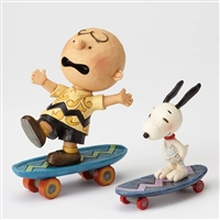 Peanuts Charlie Brown and Snoopy on Skateboards Figurine by Jim Shore