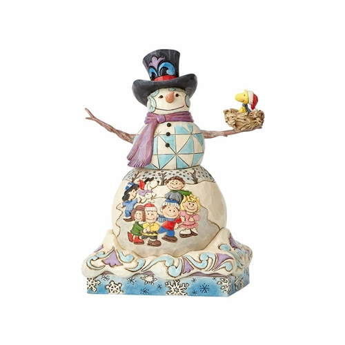 Snowman with Peanuts Gang Scene Figurine by Jim Shore