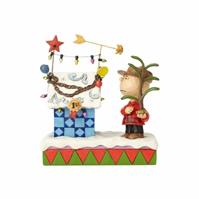 Charlie Brown and Christmas Decorated Snoopy Doghouse Figurine by Jim Shore