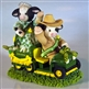Mary's Moo Moos John Deere Couple on Tractor Double Figurine