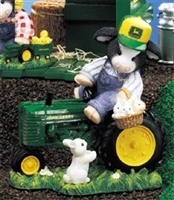 John Deere Cow on Tractor Figurine by Mary's Moo Moos