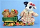 Mary's Moo Moos Cow Pulling Wagon Load of Apples Figurine
