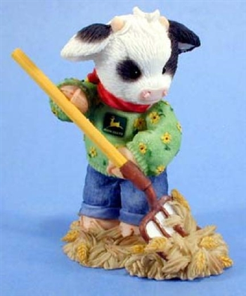 Mary's Moo Moos Boy Cow Pitching Hay Figurine