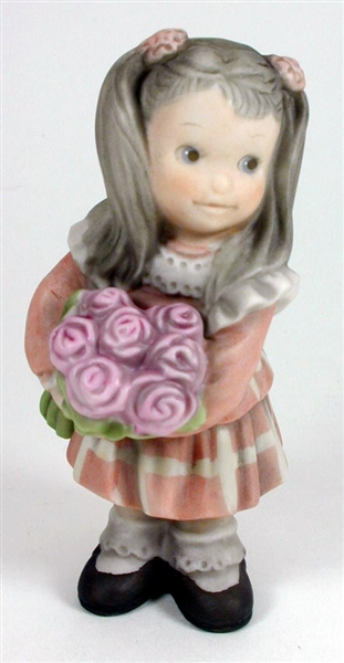 Pretty As A Picture Girl Holding Bouqet Of Flowers Figurine By Kim