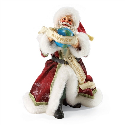 Possible Dreams Santa Holding Globe Figurine