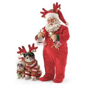 Possible Dreams Wrapped Up in Holiday Santa and Dogs Figure Set, 4046499