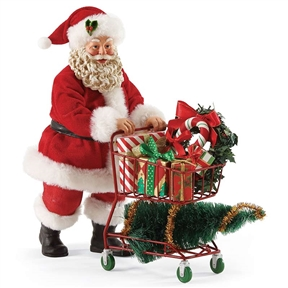 Possible Dreams Santa Claus Christmas Shopping Cart Figurine - 4052461