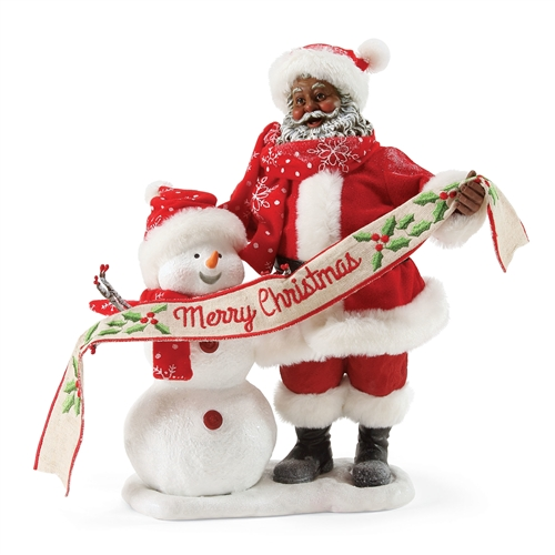 Possible Dreams African American Santa in the Meadow with Snowman Figurine