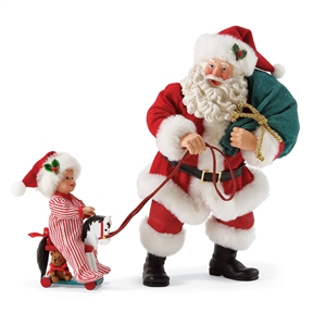 Possible Dreams Santa Pulling Boy on Toy Horse Figure Set