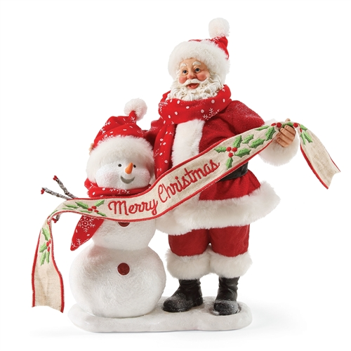 Possible Dreams Santa and Snowman Holding Banner