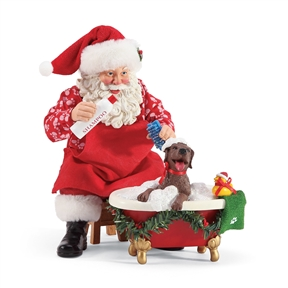 Possible Dreams Santa Giving Puppy a Bath Figurine by Department 56, 6003436