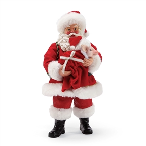 Possible Dreams Santa Holding Pig with Blanket Figurine by Department 56, 6003437