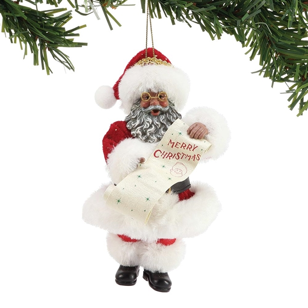 Possible Dreams African American Merry Christmas Santa Ornament, 6003868