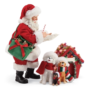 Possible Dreams Santa and Dogs Singing Figurine 3 pc. Set, 6004333