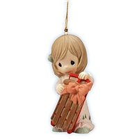 Girl with Christmas Sled - Precious Moments Ornament, 101035