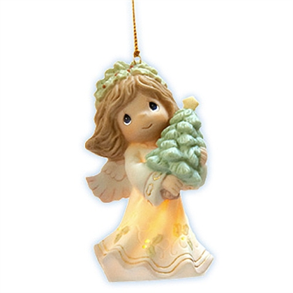 Angel Holding Christmas Tree - Precious Moments Ornament 101039