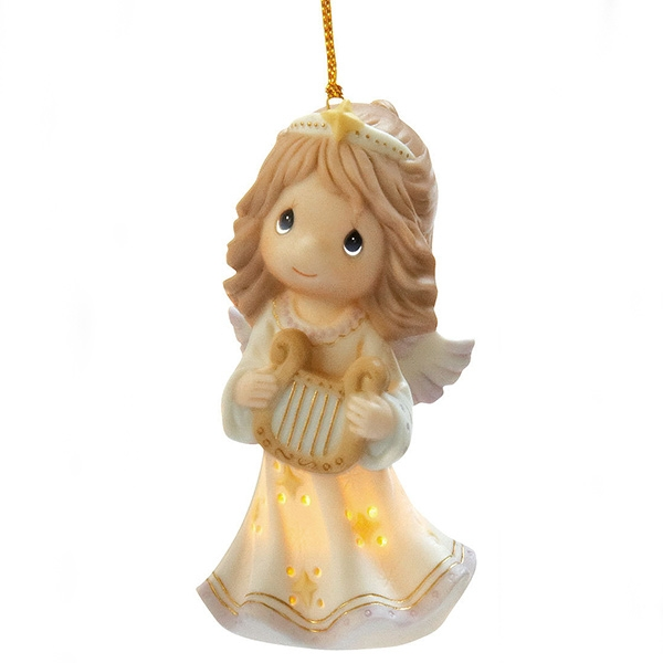 angel with harp precious moments ornament 101041 - Precious Moments Christmas Ornaments