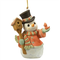 Snowman with Birdhouse and Cardinal - Precious Moments Ornament, 101073