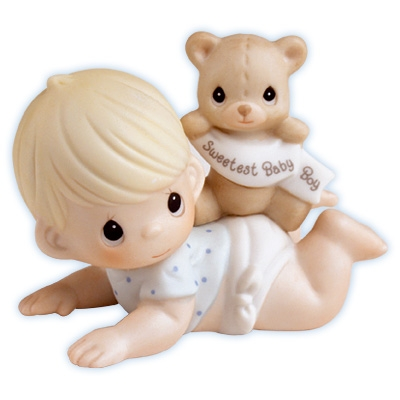 Baby Boy with Teddy Bear - Precious Moments Figurine, 101500