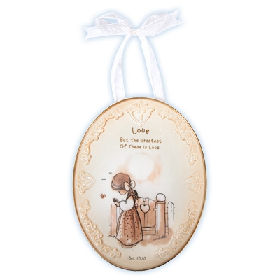 Love Plaque with Ribbon Hanger - Precious Moments, 103444